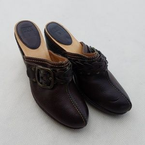 Frye Candice Clogs Mule Brown Leather Shoe